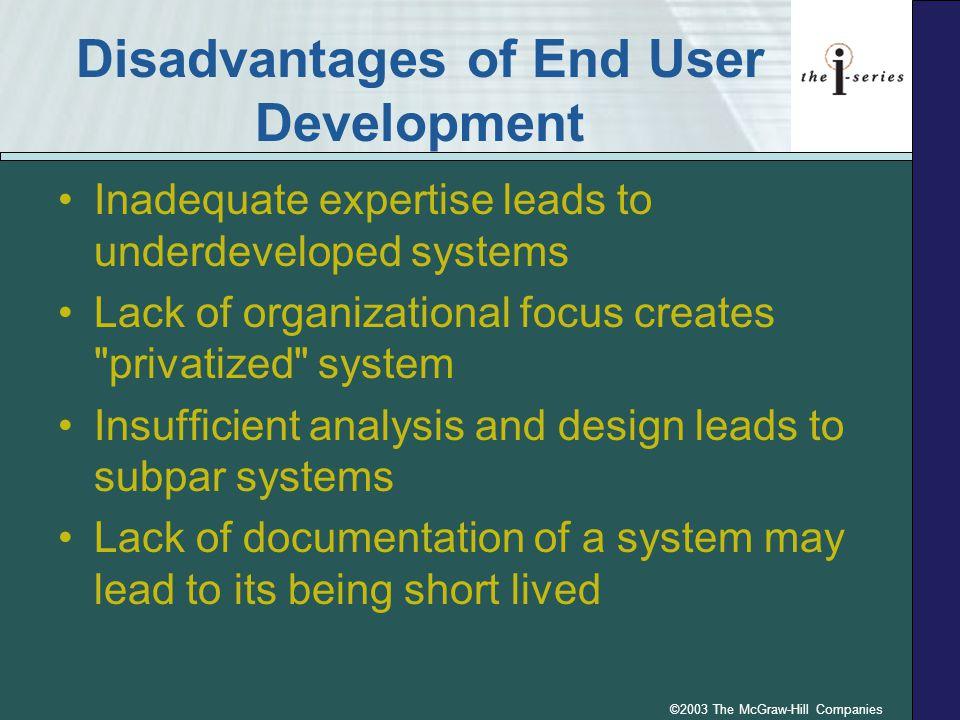 Disadvantages of End User Development