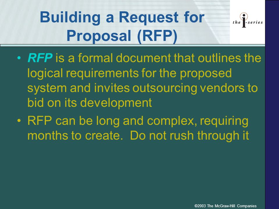 Building a Request for Proposal (RFP)