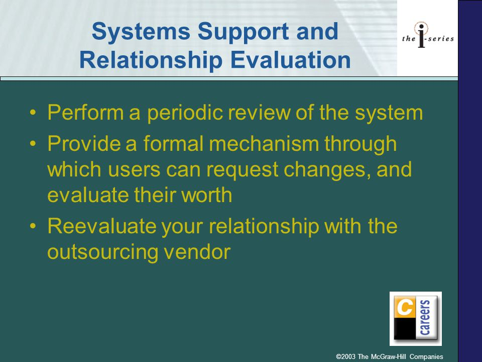 Systems Support and Relationship Evaluation