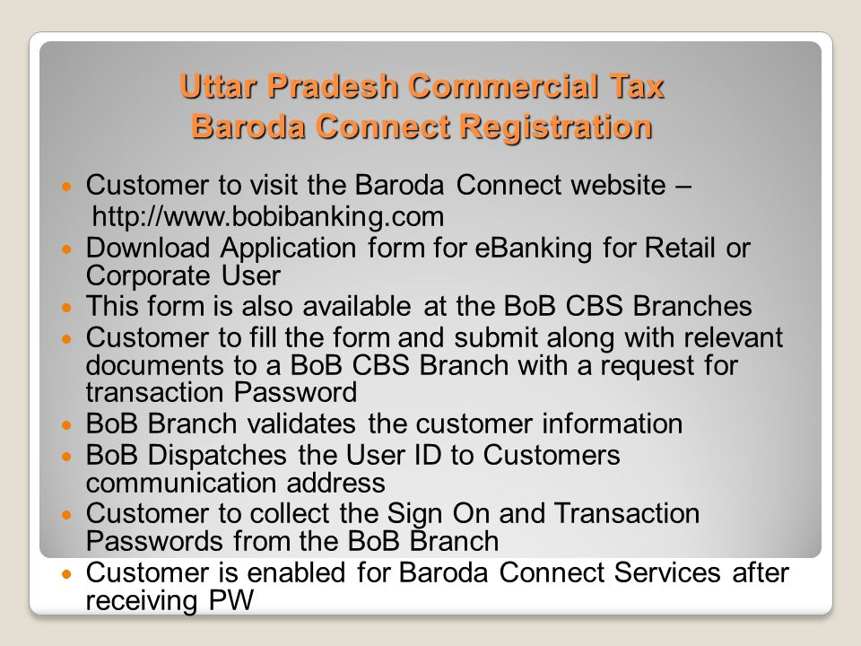 Uttar Pradesh Commercial Tax Baroda Connect Registration