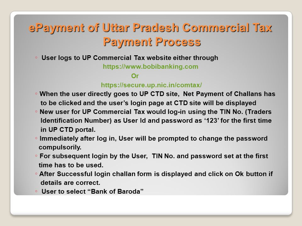 ePayment of Uttar Pradesh Commercial Tax Payment Process