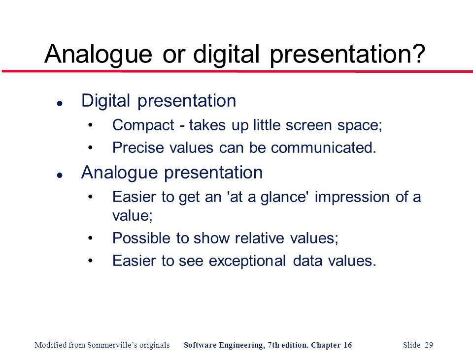 Analogue or digital presentation