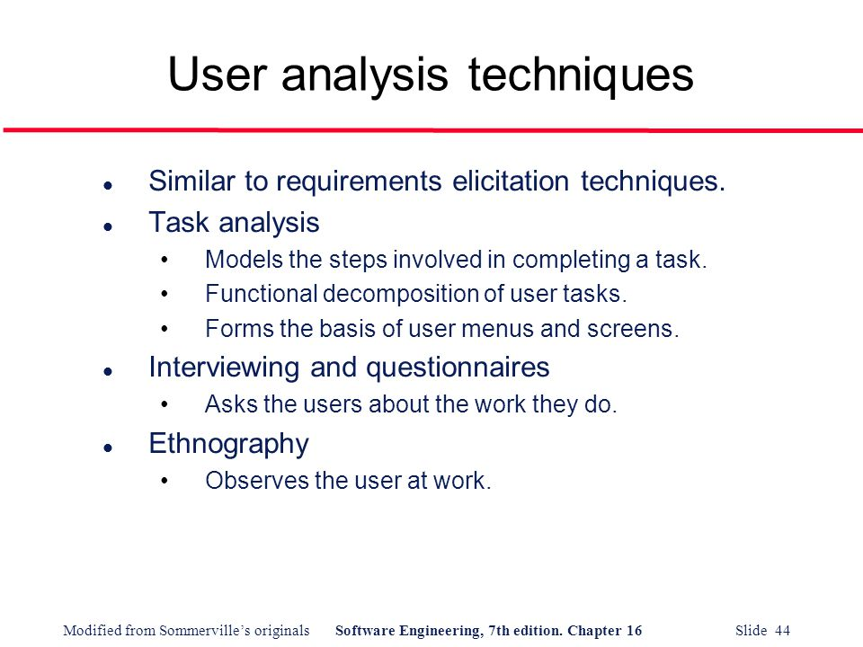 User analysis techniques