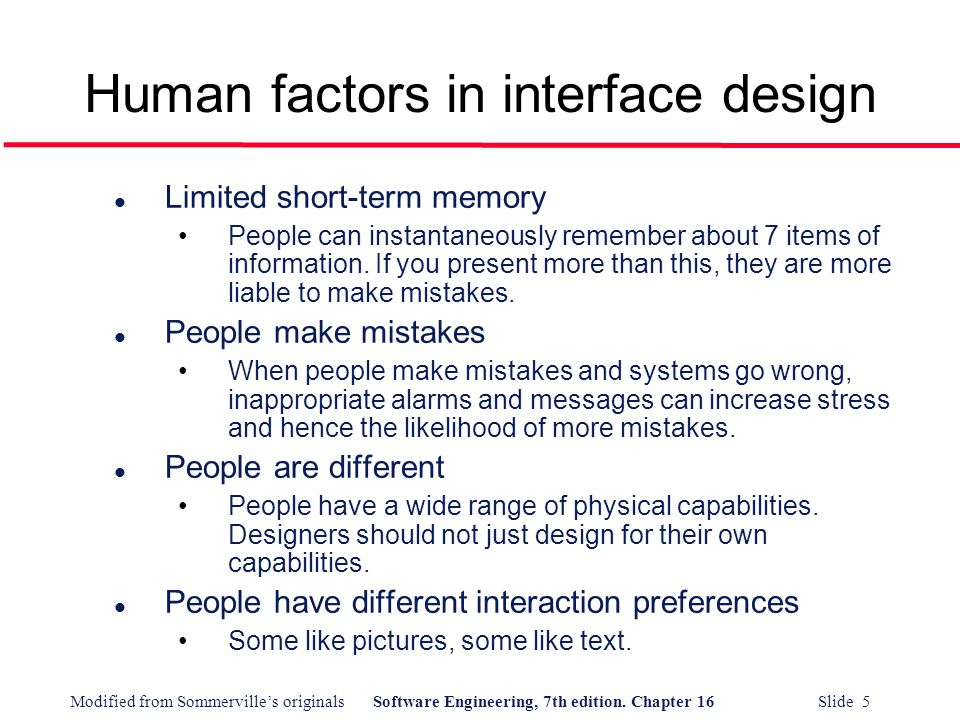 Human factors in interface design