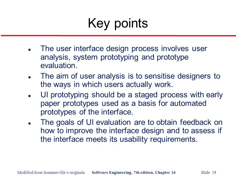 Key points The user interface design process involves user analysis, system prototyping and prototype evaluation.