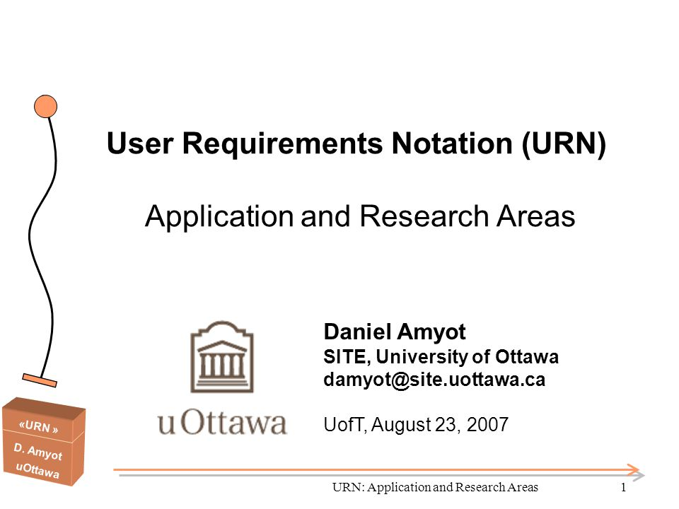 User Requirements Notation (URN) Application and Research Areas