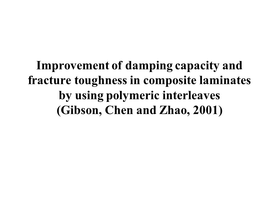 Improvement of damping capacity and fracture toughness in composite laminates by using polymeric interleaves (Gibson, Chen and Zhao, 2001)