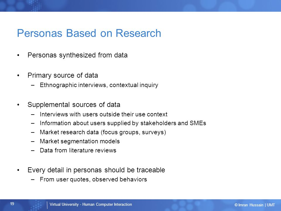 Personas Based on Research