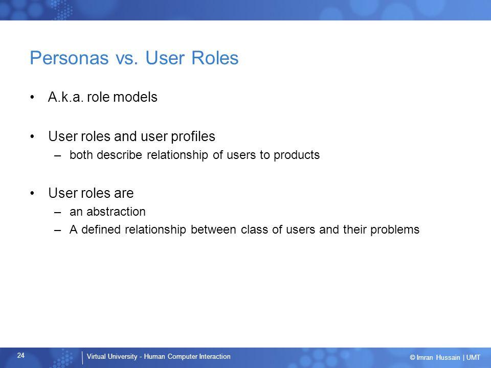 Personas vs. User Roles A.k.a. role models