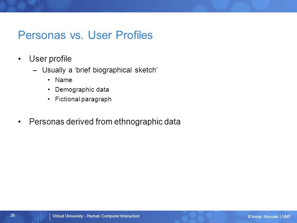 Personas vs. User Profiles