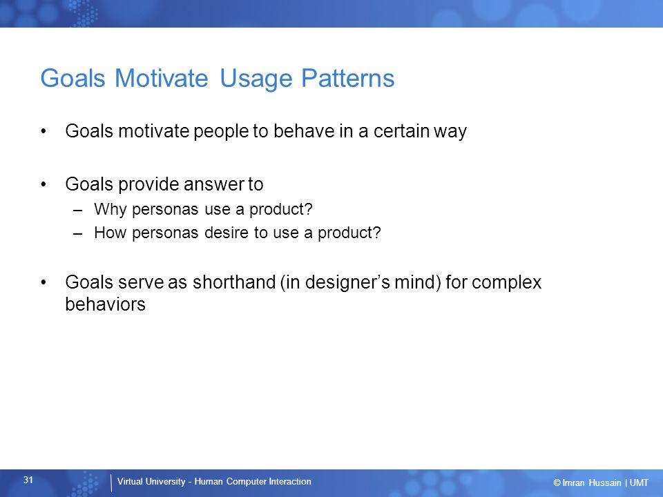 Goals Motivate Usage Patterns
