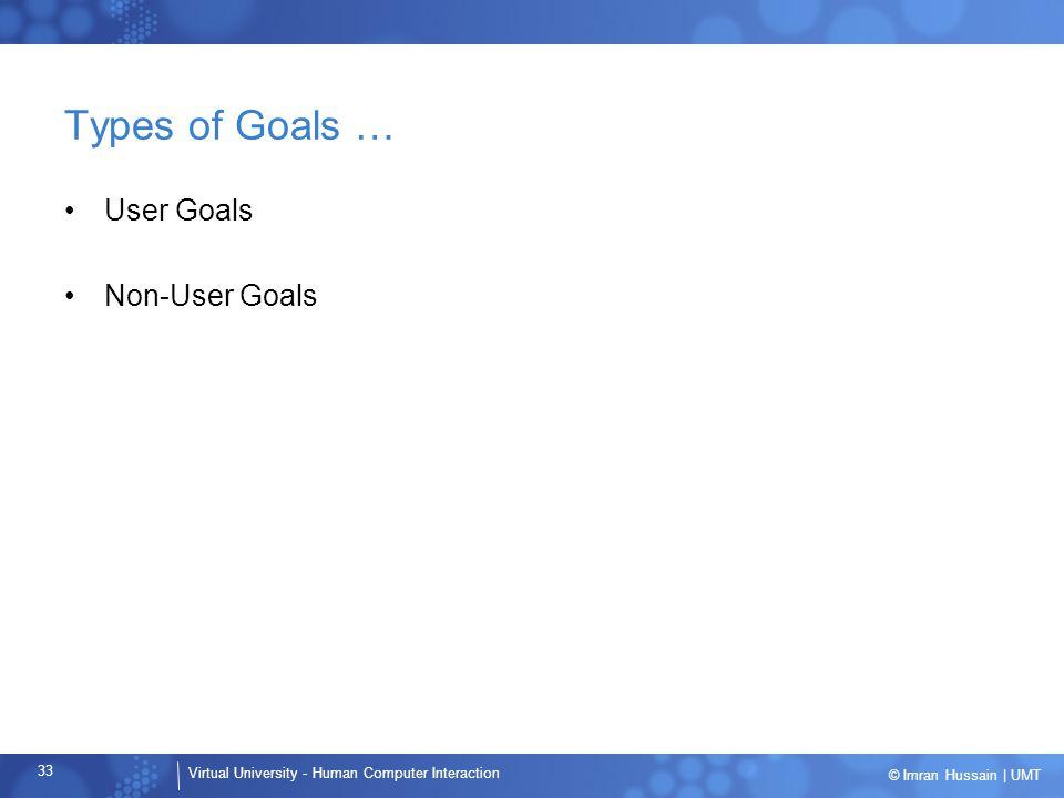 Types of Goals … User Goals Non-User Goals