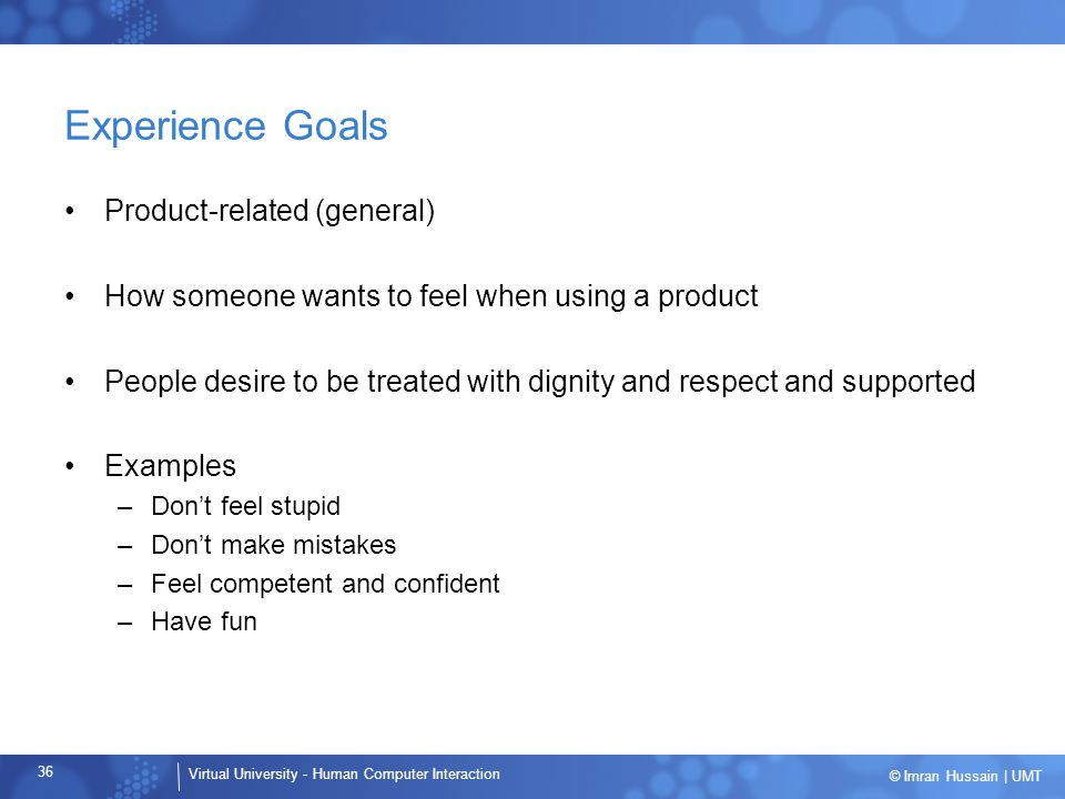 Experience Goals Product-related (general)