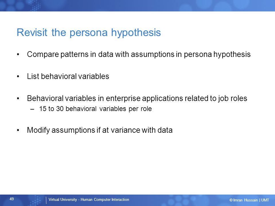 Revisit the persona hypothesis