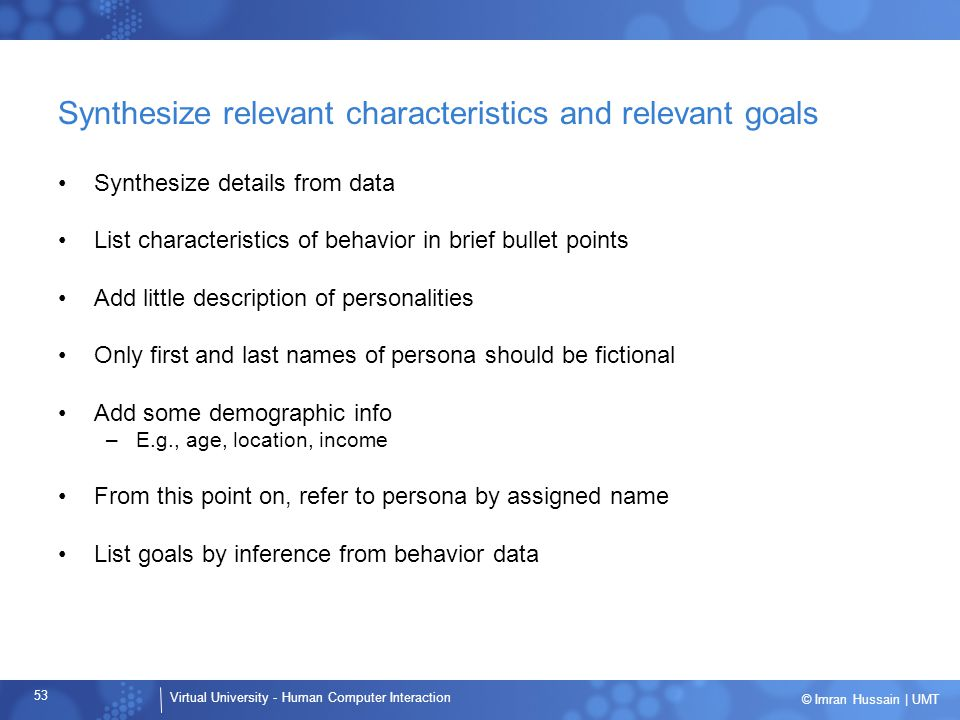 Synthesize relevant characteristics and relevant goals