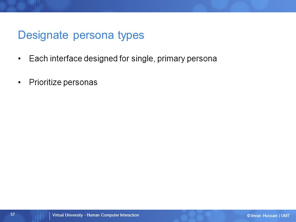 Designate persona types