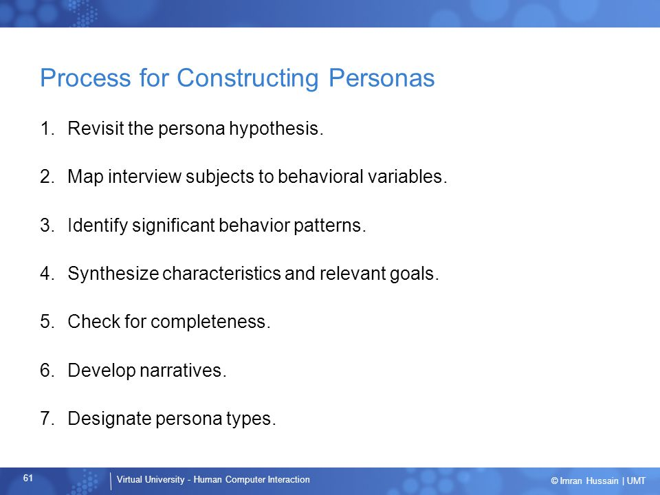 Process for Constructing Personas