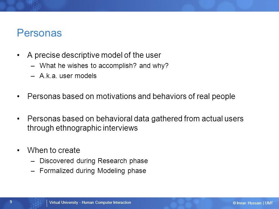 Personas A precise descriptive model of the user