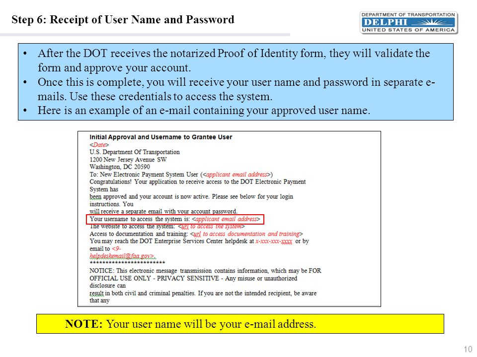 Step 6: Receipt of User Name and Password