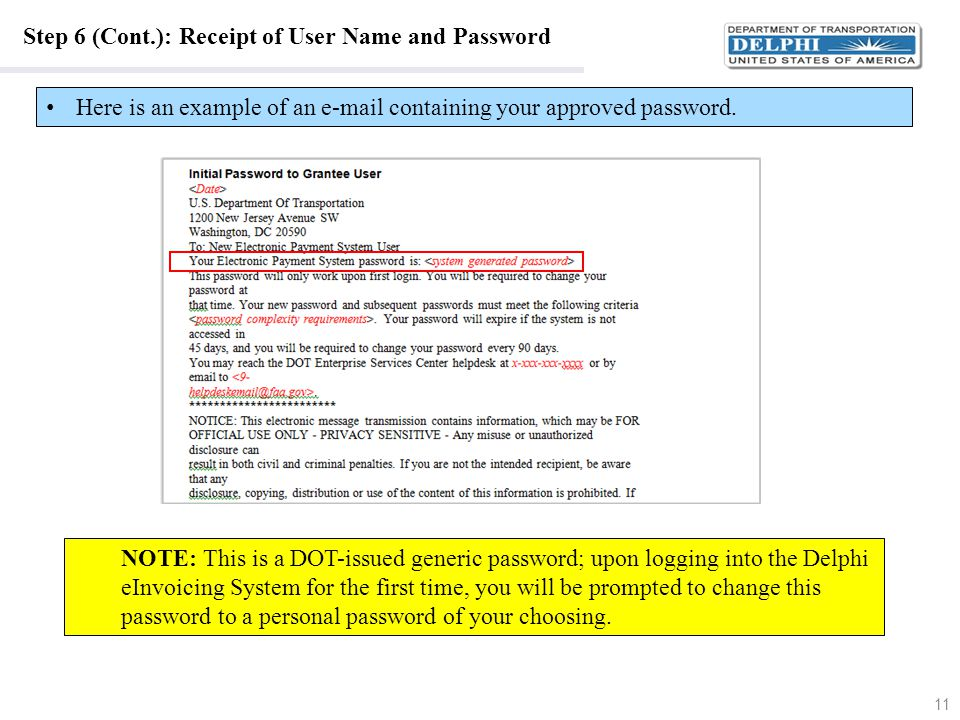 Step 6 (Cont.): Receipt of User Name and Password