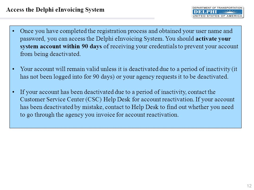 Access the Delphi eInvoicing System