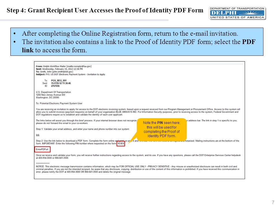 Step 4: Grant Recipient User Accesses the Proof of Identity PDF Form