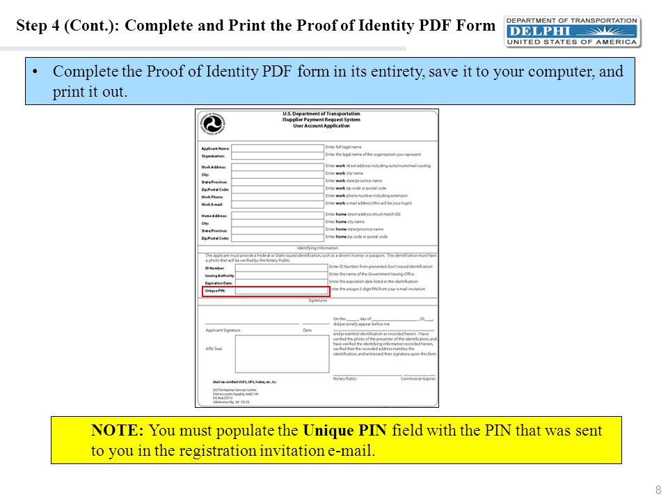 Step 4 (Cont.): Complete and Print the Proof of Identity PDF Form