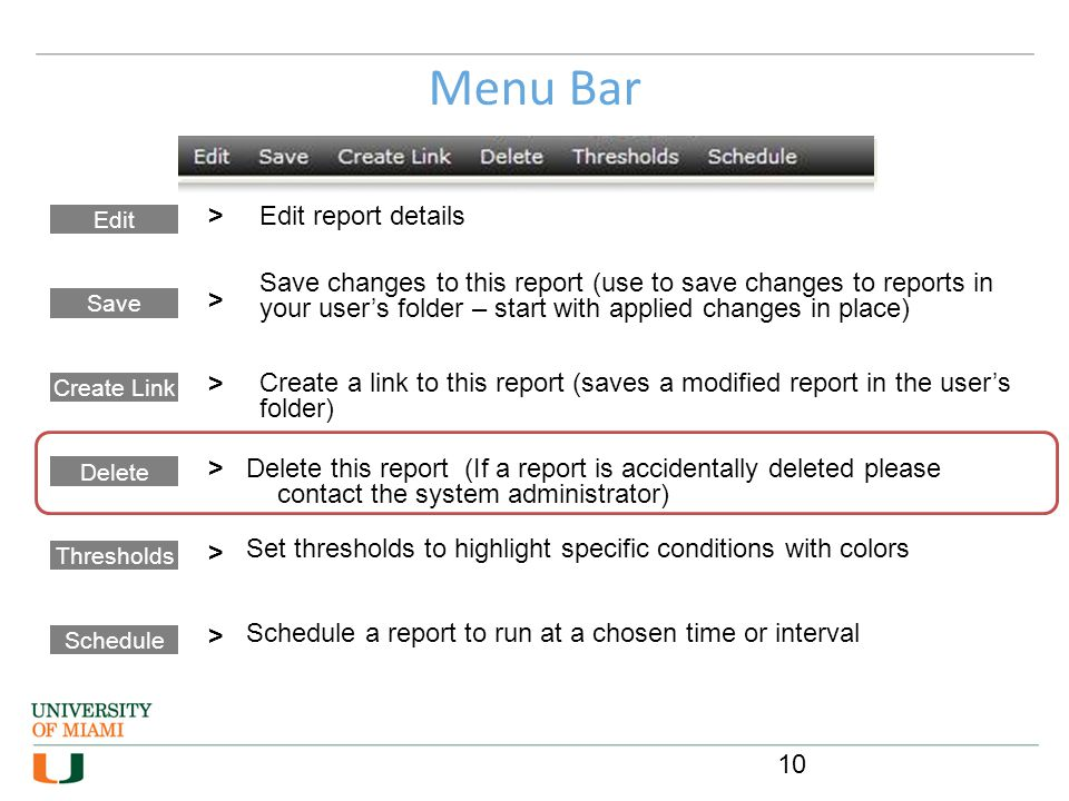 Menu Bar > Edit report details