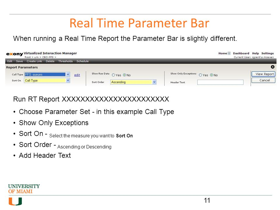 Real Time Parameter Bar