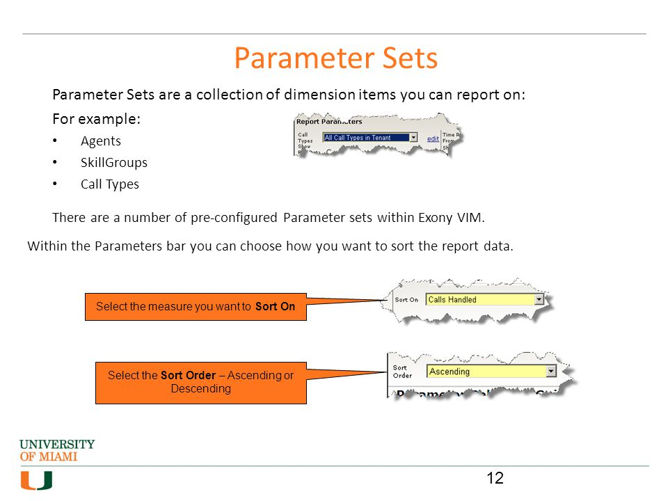 Parameter Sets Parameter Sets are a collection of dimension items you can report on: For example: Agents.