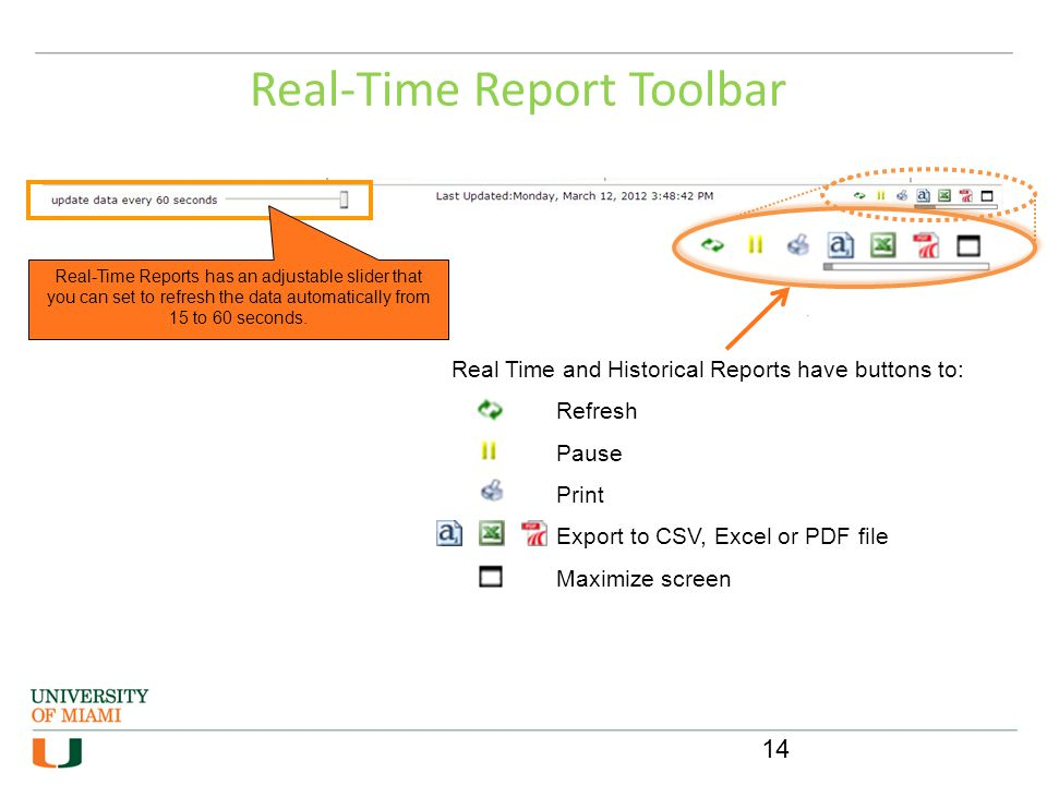 Real-Time Report Toolbar