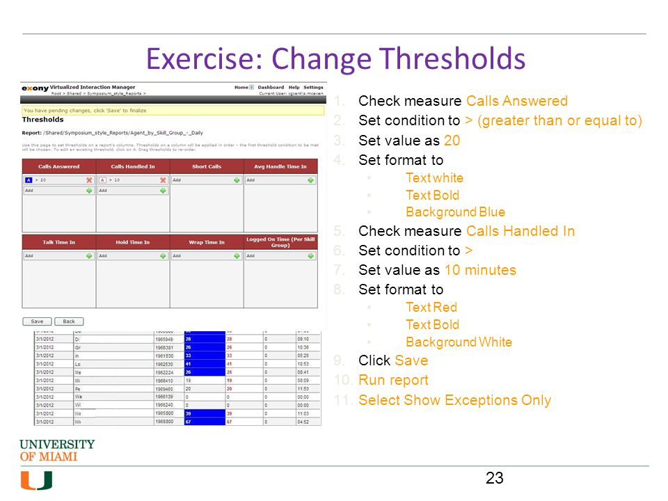 Exercise: Change Thresholds