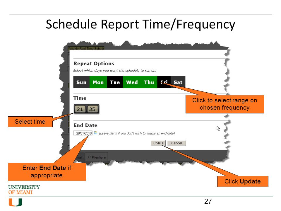Schedule Report Time/Frequency