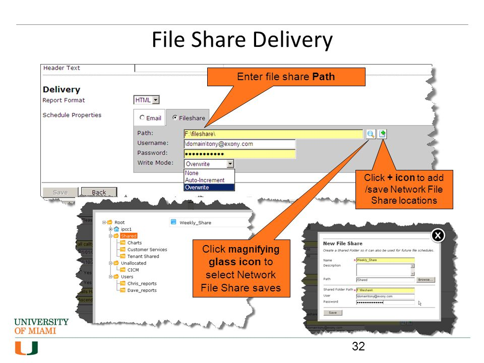 File Share Delivery Enter file share Path