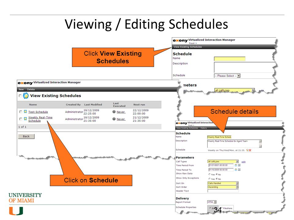 Viewing / Editing Schedules
