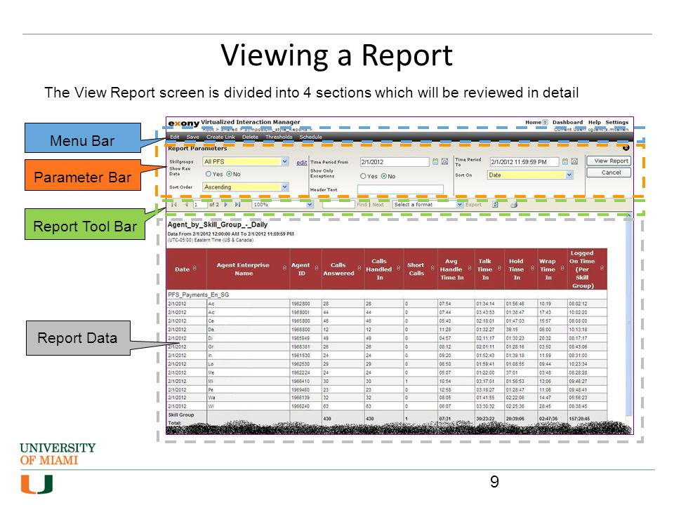 Viewing a Report Menu Bar Parameter Bar Report Tool Bar Report Data