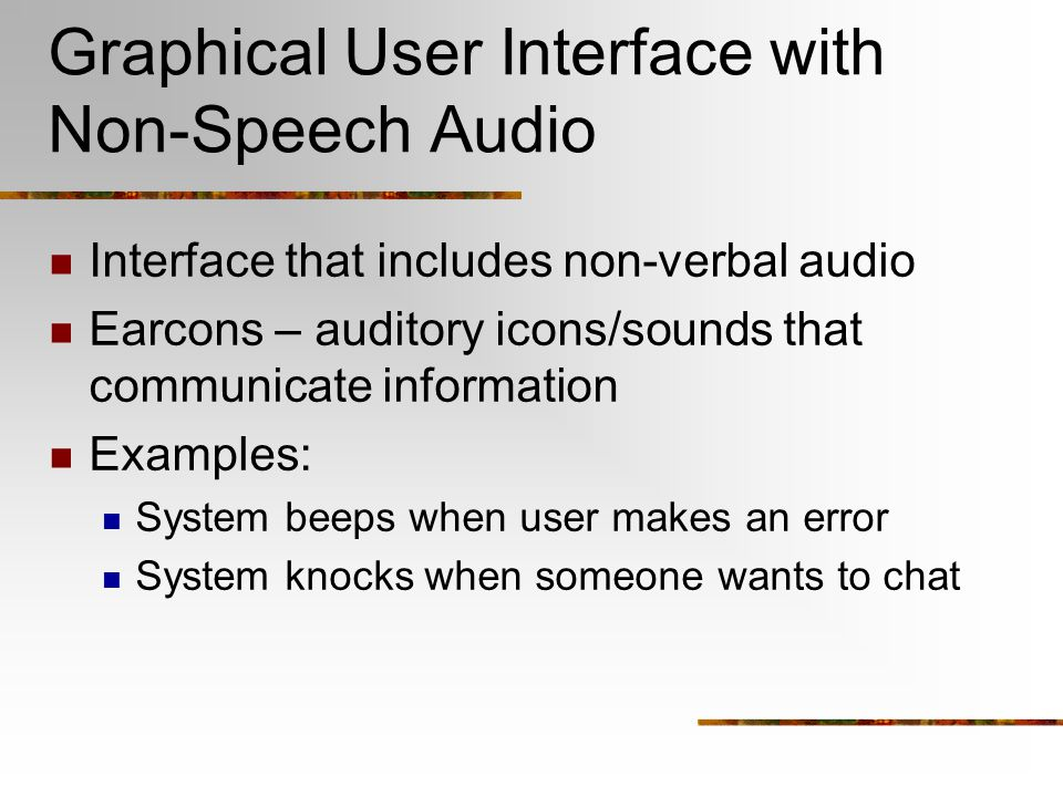 Graphical User Interface with Non-Speech Audio