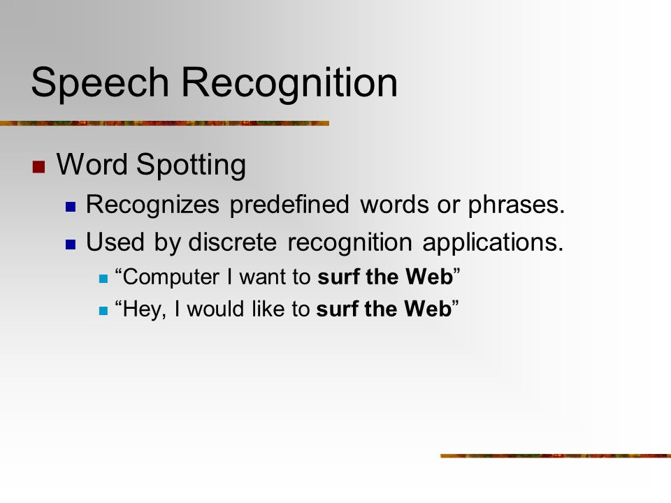 Speech Recognition Word Spotting