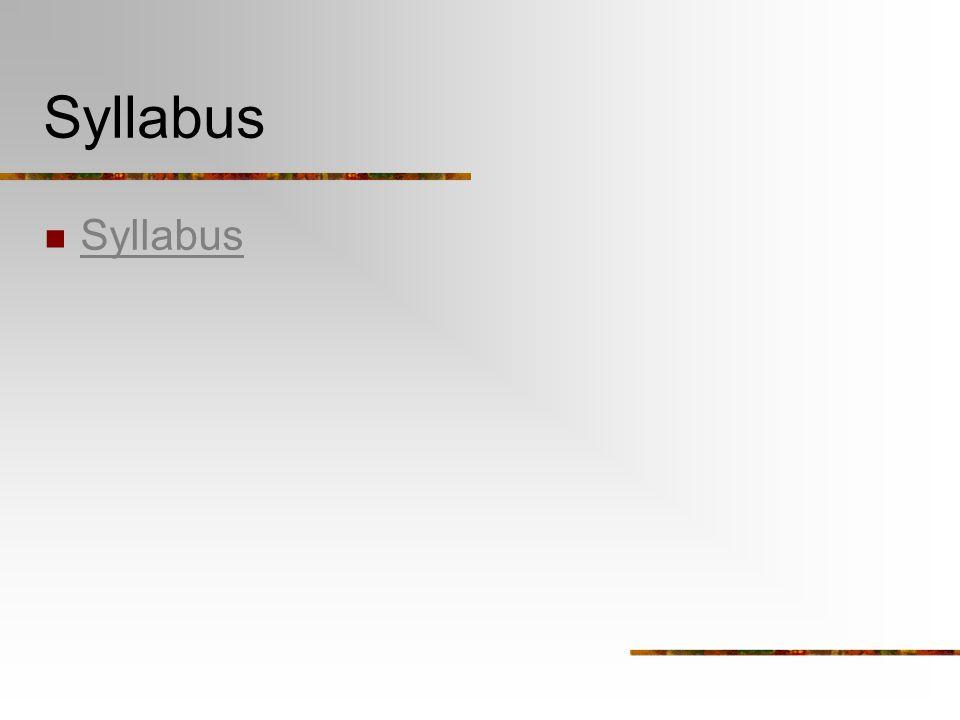 Syllabus Syllabus