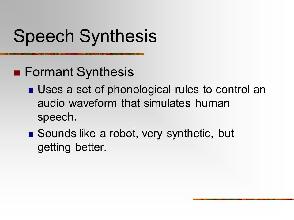 Speech Synthesis Formant Synthesis