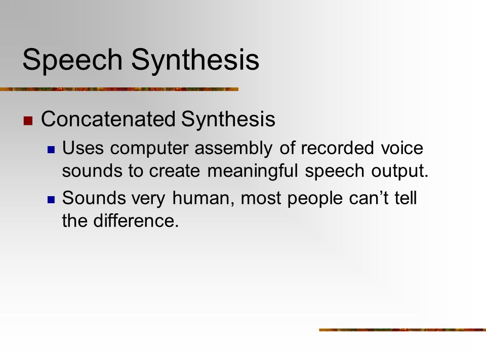 Speech Synthesis Concatenated Synthesis