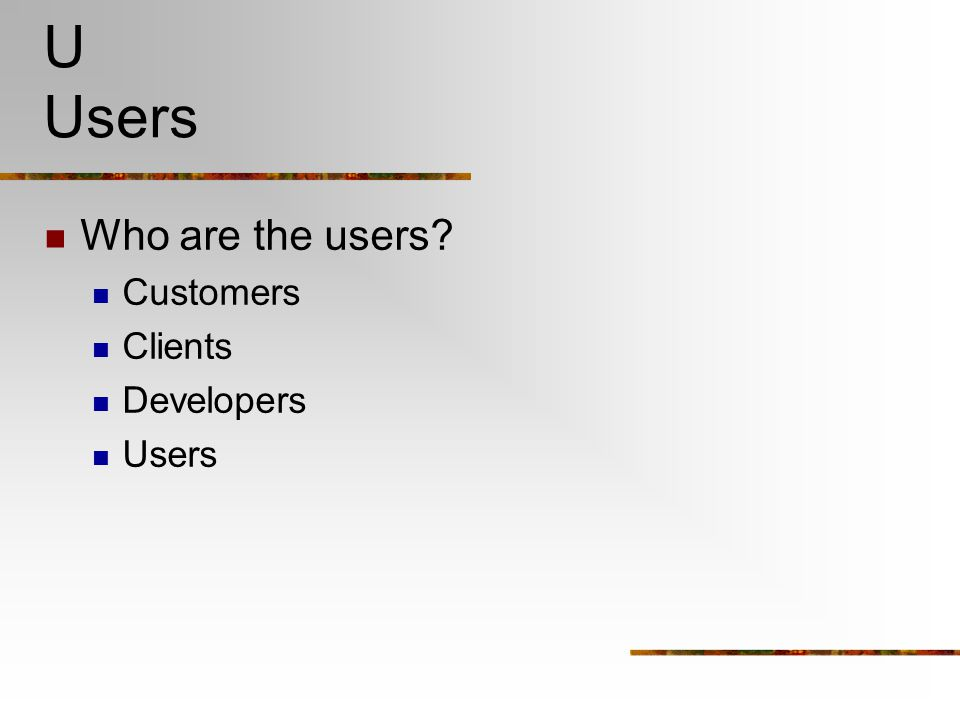 U Users Who are the users Customers Clients Developers Users