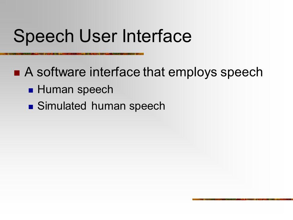 Speech User Interface A software interface that employs speech