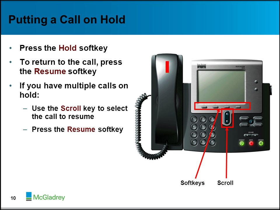 Putting a Call on Hold Press the Hold softkey