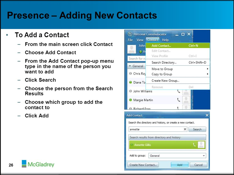 Presence – Adding New Contacts