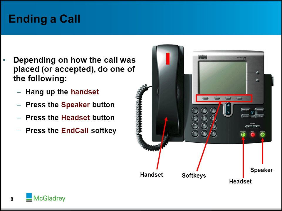 Ending a Call Depending on how the call was placed (or accepted), do one of the following: Hang up the handset.