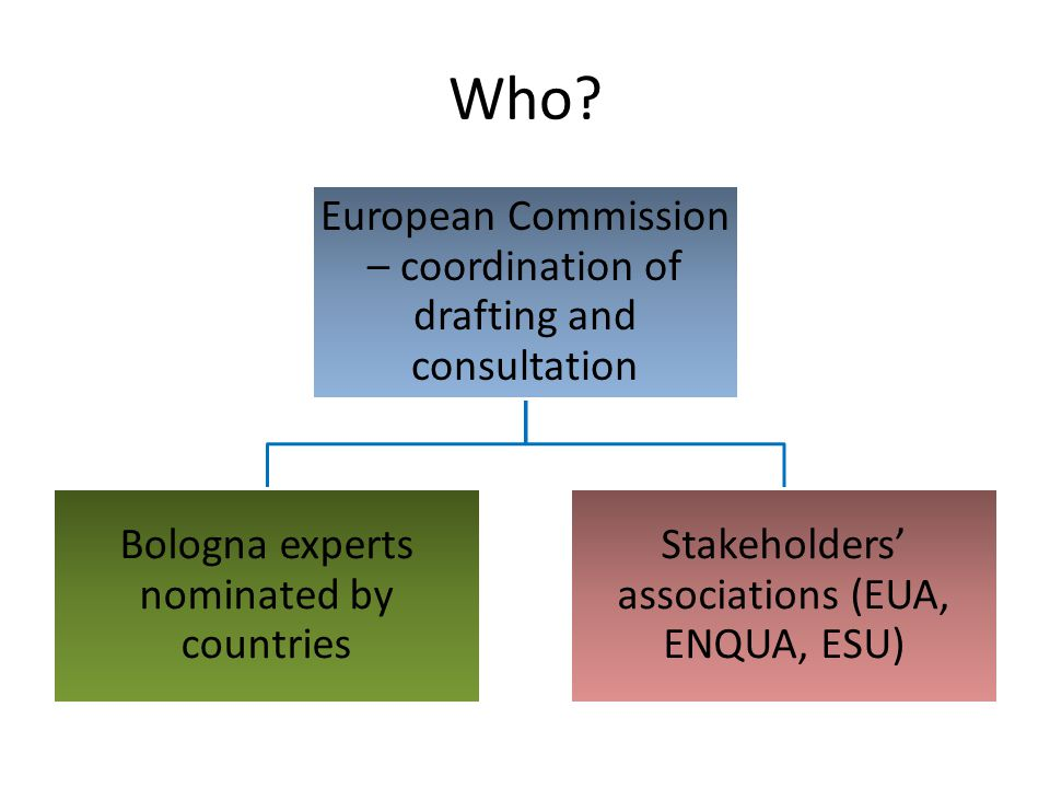 Who European Commission – coordination of drafting and consultation