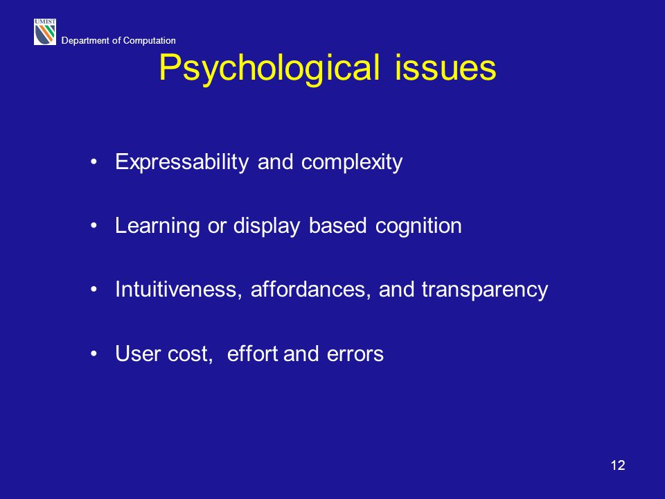 Psychological issues Expressability and complexity