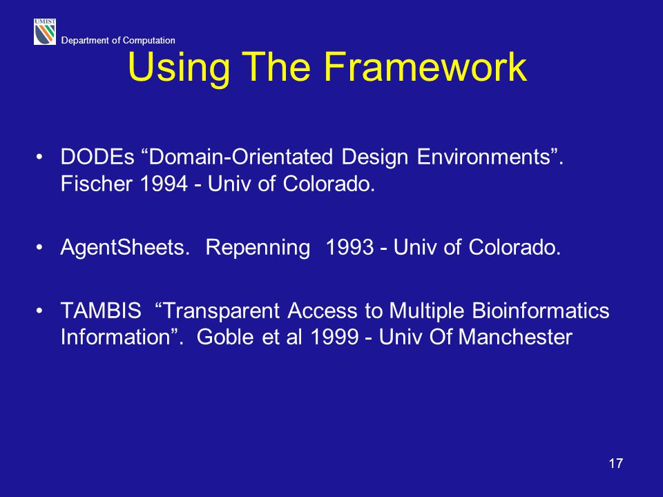 Using The Framework DODEs Domain-Orientated Design Environments . Fischer Univ of Colorado.