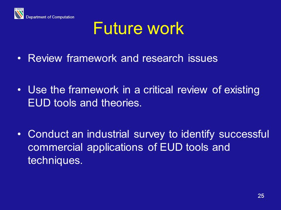 Future work Review framework and research issues